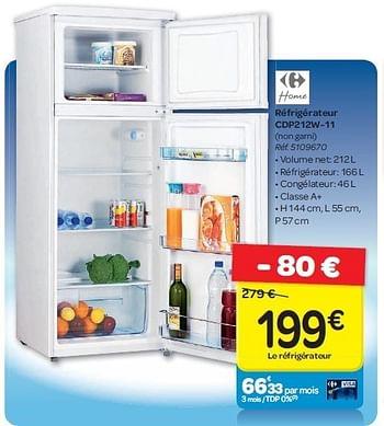 Refrigerateur 1 Porte Sh61qrw A Prix Carrefour