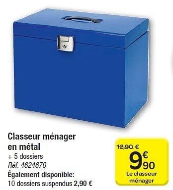 Promotion Carrefour Classeur Menager En Metal Produit Maison Carrefour Materiel Pour Bureau Et Pour L Ecole Valide Jusqua 4 Promobutler