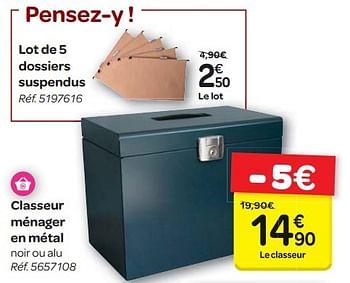 Promotion Carrefour Lot De 5 Dossiers Suspendus Produit Maison Carrefour Materiel Pour Bureau Et Pour L Ecole Valide Jusqua 4 Promobutler