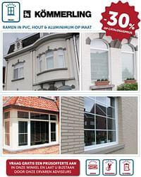 Ramen in pvc, hout + aluminimum op maat -30% op catalogusprijs-Kommerling