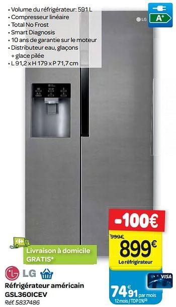 Promotion Carrefour Lg Refrigerateur Americain Gsl360icev Lg Appareils Electriques Valide Jusqua 4 Promobutler