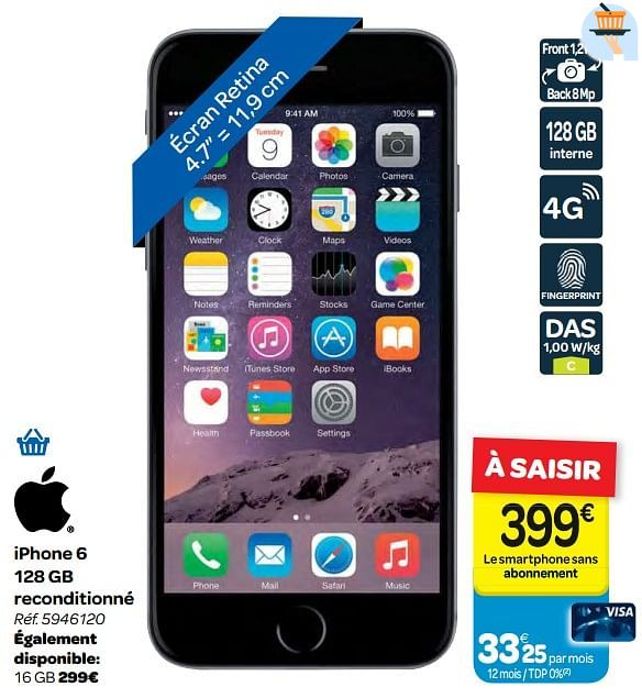 apple iphone 6 128 gb reconditionne carrefour 3584843
