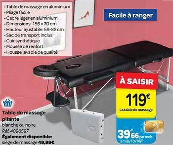 Promotion Carrefour Table De Massage Pliante Produit Maison Carrefour Soins Du Corps Valide Jusqua 4 Promobutler