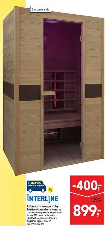 Promotion Makro Cabine Infrarouge Ruby Interline Piscine Sauna Valide Jusquà 4 Promobutler