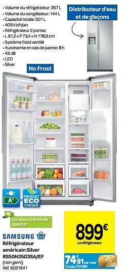 Promotion Carrefour Samsung Refrigerateur Americain Silver Rs50n3503sa Ef Samsung Appareils Electriques Valide Jusqua 4 Promobutler