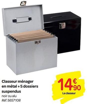 Promotion Carrefour Classeur Menager En Metal 5 Dossiers Suspendus Produit Maison Carrefour Materiel Pour Bureau Et Pour L Ecole Valide Jusqua 4 Promobutler