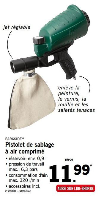 parkside pistolet de sablage a air comprime