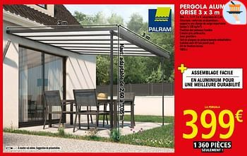 Promotion Brico Depot Pergola Aluminium Grise 3 X 3 M Produit Maison Brico Depot Jardin Et Fleurs Valide Jusqua 4 Promobutler