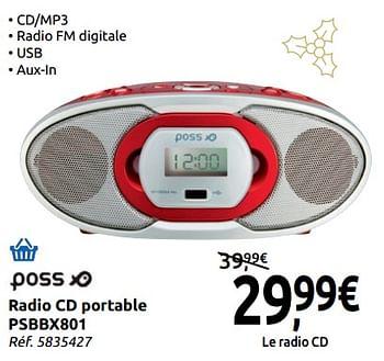 Promotion Carrefour Poss Radio Cd Portable Psbbx801 Poss Multimedia Valide Jusqua 4 Promobutler