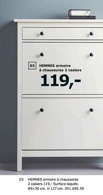 Promotion Ikea Hemnes Armoire A Chaussures 2 Casiers Produit Maison Ikea Meubles Valide Jusqua 4 Promobutler