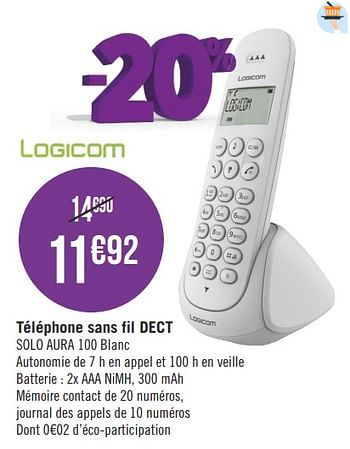 Promotion Geant Casino Logicom Telephone Sans Fil Dect Solo Aura 100 Blanc Aura Telecom Valide Jusqua 4 Promobutler