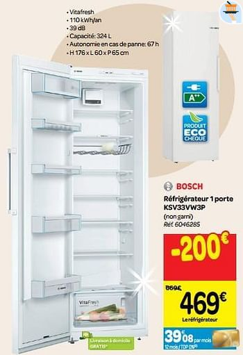 Promotion Carrefour Bosch Refrigerateur 1 Porte Ksv33vw3p Bosch Appareils Electriques Valide Jusqua 4 Promobutler