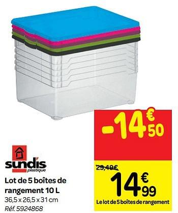 Promotion Carrefour Lot De 5 Boites De Rangement Sundis Menage Valide Jusqua 4 Promobutler