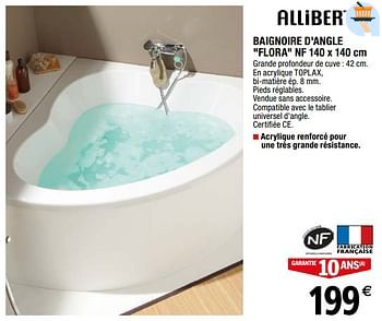 Promotion Brico Depot Baignoire D Angle Flora Nf Allibert Cuisine Salle De Bain Valide Jusqua 4 Promobutler