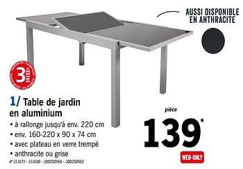 table de jardin en aluminium lidl 5068293