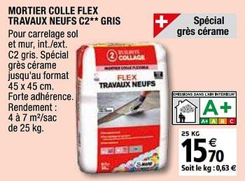 Promotion Brico Depot Mortier Colle Flex Travaux Neufs C2 Gris Mapei Bricolage Valide Jusqua 4 Promobutler