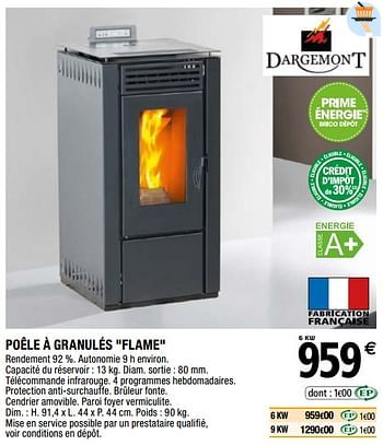 Promotion Brico Depot Poele A Granules Flame Dargemont Chauffage Et Climatisation Valide Jusqua 4 Promobutler