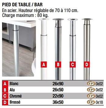 Promotion Brico Depot Pied De Table Bar Produit Maison Brico Depot Bricolage Valide Jusqua 4 Promobutler