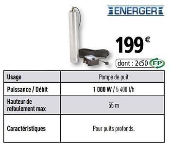 promotion Brico Depot: Energer pompes vide-cave et puit - Energer (Jardin et fleurs) - valide ...