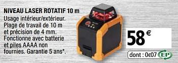 Promotion Brico Depot Magnusson Niveau Laser Rotatif 10 M Magnusson Bricolage Valide Jusqua 4 Promobutler