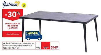 Promotion Makro Table Constantine Pietement En Aluminium Avec Plateau Ceramique Hartman Jardin Et Fleurs Valide Jusqua 4 Promobutler