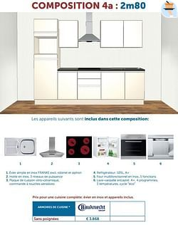 Prix pour une cuisine complète: évier en inox et appareils inclus