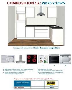 Prix pour une cuisine complète: évier en inox et appareils inclus.