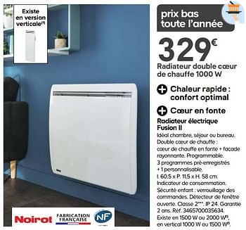 Promotion Castorama Radiateur Electrique Fusion Ii Noirot Chauffage Et Climatisation Valide Jusqua 4 Promobutler