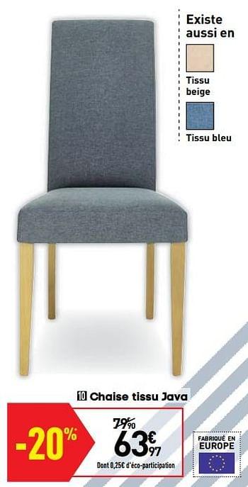 chaise tissu java
