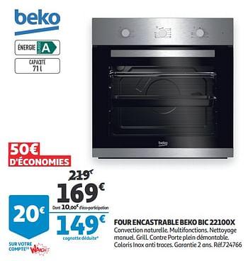 Promotion Auchan Ronq Four Encastrable Beko Bic 22100x Beko Appareils Electriques Valide Jusqua 4 Promobutler