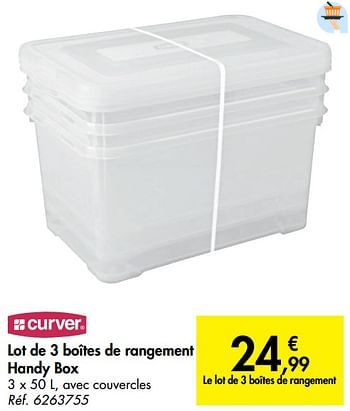 Promotion Carrefour Lot De 3 Boites De Rangement Handy Box Curver Menage Valide Jusqua 4 Promobutler