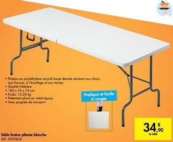 Promotion Carrefour Table Festive Pliante Blanche Produit Maison Carrefour Jardin Et Fleurs Valide Jusqua 4 Promobutler