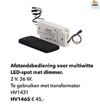 Afstandsbediening voor multiwitte led-spot met dimmer-Huismerk - Kvik