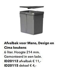 Afvalbak voor mano, design en cima keukens-Huismerk - Kvik
