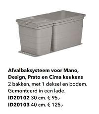 Afvalbaksysteem voor mano, design, prato en cima keukens-Huismerk - Kvik