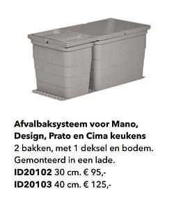 Afvalbaksysteem voor mano, design, prato en cima keukens