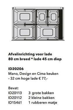 Afvalinrichting voor lade mano, design en cima keuken