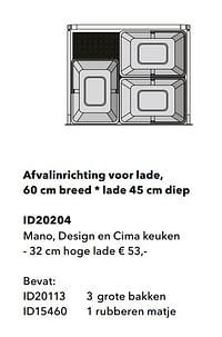 Afvalinrichting voor lade mano, design en cima keuken-Huismerk - Kvik