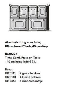 Afvalinrichting voor lade tinta, senti, prato en tacto-Huismerk - Kvik