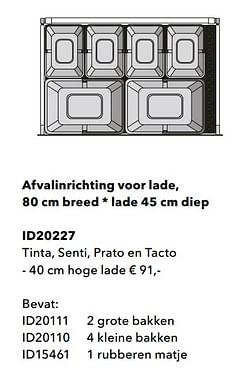 Afvalinrichting voor lade tinta, senti, prato en tacto