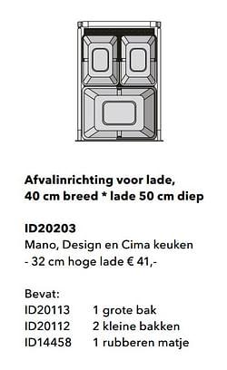 Afvalinrichting voor lade, mano, design en cima keuken