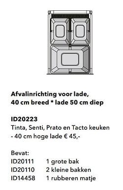Afvalinrichting voor lade tinta, senti, prato en tacto keuken