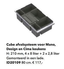 Cube afvalsysteem voor mano, design en cima keukens
