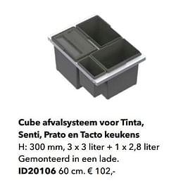 Cube afvalsysteem voor tinta, senti, prato en tacto keukens