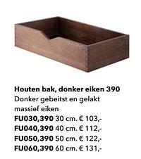Houten bak, donker eiken 390-Huismerk - Kvik