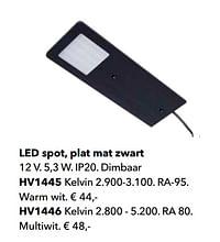 Led spot, plat mat zwart-Huismerk - Kvik