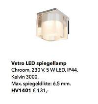 Vetro led spiegellamp-Huismerk - Kvik