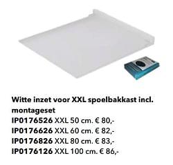 Witte inzet voor xxl spoelbakkast incl. montageset