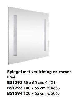 Spiegel met verlichting en corona