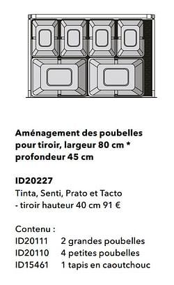Aménagement des poubelles pour tiroir, largeur profondeur